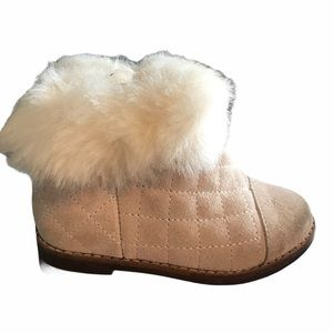 Janie and Jack Suede faux fur quilted booties 7